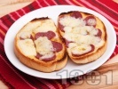 Рецепта Топли сандвичи с масло, луканка и кашкавал печени на фурна